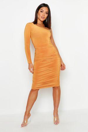 Boohoo Damen Asymmetrische Kleider - Womens Doppellagiges, anschmiegsames One-Shoulder-Midikleid - - 34