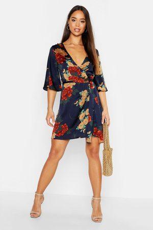Boohoo Womens Wickelkleid aus Satin mit Blumenmuster - - 34