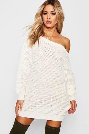 Boohoo Womens Petite schulterfreies Pulloverkleid aus Strick mit Waffelmuster - - S