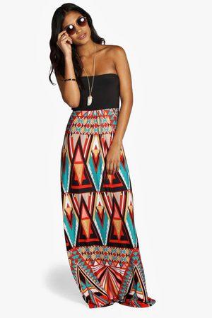 Boohoo Womens Bandeau-Maxi-Kleid mit geometrischem Print - - 32
