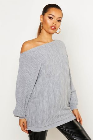 Boohoo Damen Rollkragenpullover - Womens Übergroßer Pullover Aus Rippstrick Mit Fledermausärmeln - - M/L