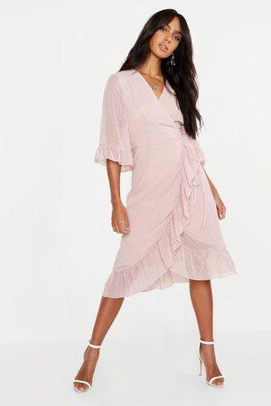 Boohoo Womens Midi-Wickelkleid aus strukturiertem Chiffon mit weiten Ärmeln - - 34