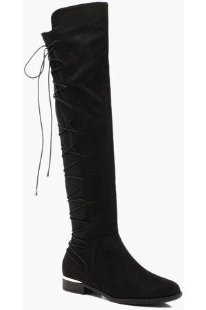 Boohoo Womens Kniehohe Stiefel mit Bungeeschnürung hinten - - 36