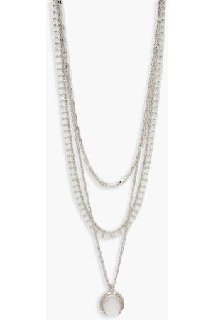 Boohoo Damen Halsketten - Womens Plus Mehrreihige Choker-Halskette Mit Mondanhänger - - One Size