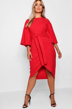 Boohoo Womens Plus Midi-Wickelkleid Mit Kimonoärmel - - 46