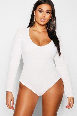 Boohoo Damen Bodys - Womens Plus Schlichter Gerippter Bodysuit Mit Tiefem Ausschnitt - - 42