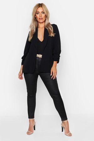 Boohoo Womens Plus Blazer mit gerafften Ärmeln und Revers - - 42