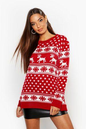 Boohoo Womens Weihnachtspullover Mit Rentier Und Schneeflocken - - S