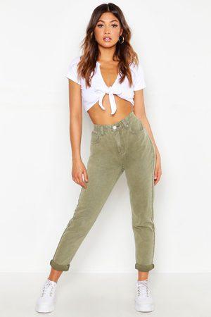 Boohoo Womens High-Waist Mom Jeans Aus Festem Denim Mit Destroyed-Look - - 32