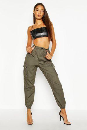Boohoo Womens Web-Cargohose mit Tasche - - 32