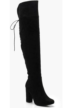 Boohoo Womens Overknee-Stiefel mit rückseitiger Schnürung und Blockabsatz - - 36