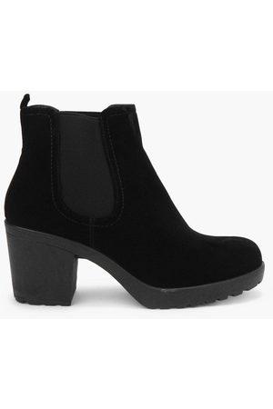 Boohoo Womens -Stiefel in Wildlederoptik mit Blockabsatz - - 36