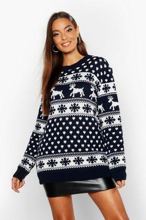 Boohoo Damen Strickpullover - Womens Weihnachtspullover Mit Rentier Und Schneeflocken - - S