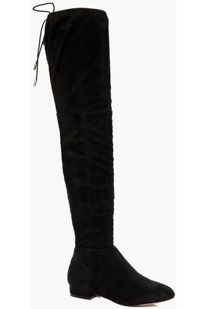 Boohoo Womens Flache und Rücken Overknee-Stiefel - - 36