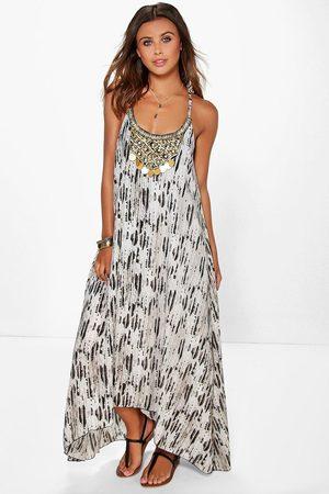 Boohoo Womens Petite Perlenbesetztes Kleid mit Zipfelsaum und Schlangen-Print - - 30