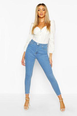 Boohoo Damen Baggy & Boyfriend - Womens Skinny Jeans mit ausgefranstem Saum - - 32