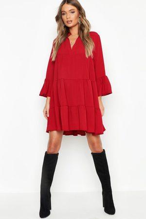 Boohoo Womens Gestuftes Blusenkleid aus Webmaterial - - 34