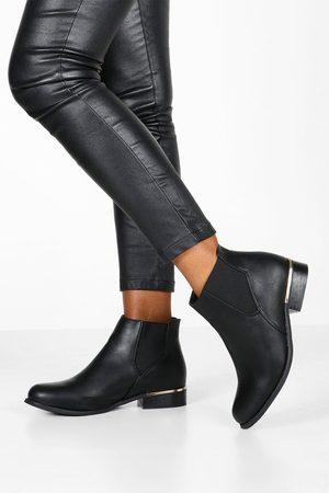 Boohoo Womens Chelsea-Stiefel mit Metalldetail und weiter Passform - - 36