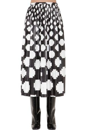 Marni Printed Satin Midi Skirt W/ Pleats