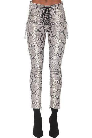 UNRAVEL Python Printed Leather Lace Up Pants