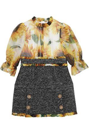 Dolce & Gabbana Kleid Aus Organza Und Bouclé Mit Druck