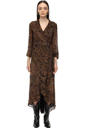 Ganni Damen Bedruckte Kleider - Printed Georgette Wrap Dress