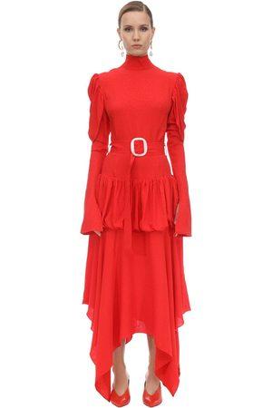 MATÉRIEL by Aleksandre Akhalkatsishvili Damen Midikleider - Belted Viscose Crepe Midi Dress