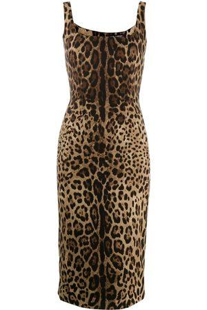 Dolce & Gabbana Damen Cocktailkleider - Schmales Kleid mit Leo-Print