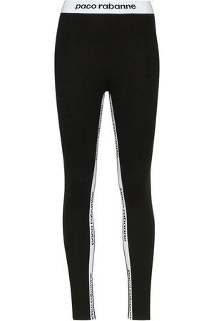 Paco rabanne Damen Leggings - Leggings mit Logo-Print