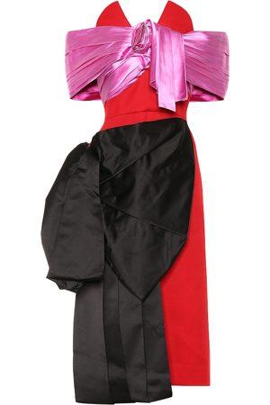 Prada Robe aus Wolle und Seidensatin