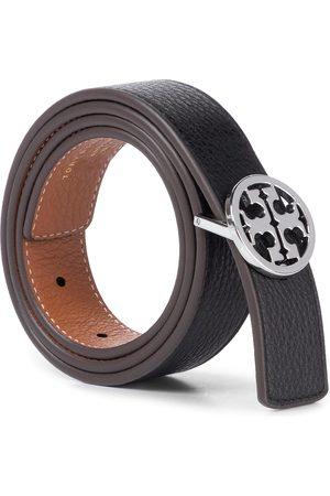"""Tory Burch Damen Gürtel - 1"""" Reversible Logo Belt 56643 Black/New Cuoio/Silver 896"""
