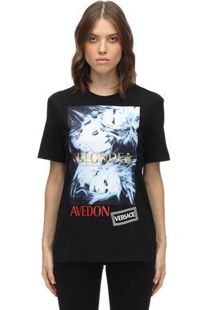 VERSACE T-shirt Aus Baumwolle Mit Druck Und Stickerei