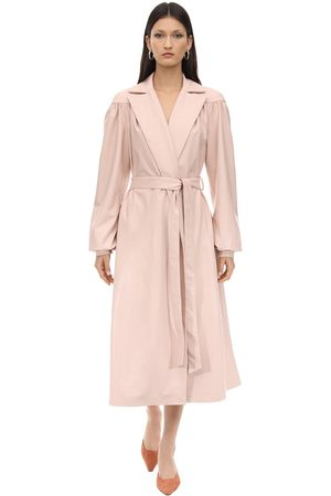 LESYANEBO Ruffled Faux Leather Trench Coat W/ Belt