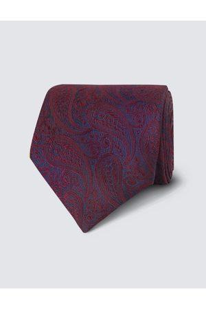 Hawes & Curtis Herren Hochzeits Kollektion | Krawatte Seide Paisley Burgunderrot