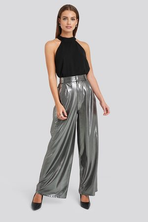 NA-KD High Waist Front Pleat Wide Leg Pants - Silver