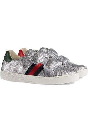Gucci Kinder Sneaker aus Glitzerstoff mit Web