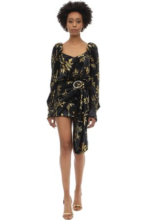 DODO BAR OR Draped Buckle Velvet Jacquard Mini Dress