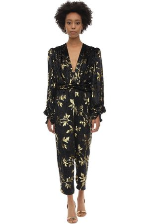 DODO BAR OR Long Draped Velvet Jacquard Jumpsuit