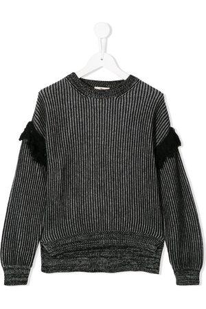 Andorine Gerippter Pullover mit Fransen