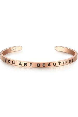 Nahla Armband YOU ARE BEAUTIFUL Edelstahl, 50x60 mm, rosé , mm