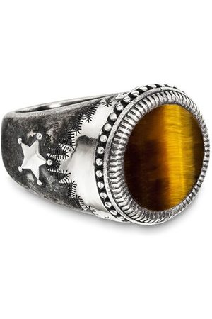 CAÏ Ring 925/- Sterling Silber mattiert Tigerauge, 58