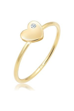 Elli Ring Bandring Herz Diamant (0.02 ct.) Love 375 Gelbgold, , 54 mm