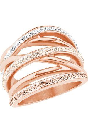s.Oliver Damen Ring, Edelstahl mit Swarovski Kristallen, 54, rosé