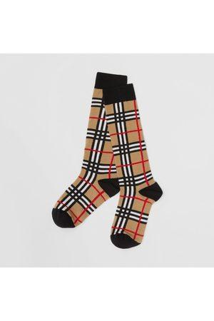 Burberry Socken & Strümpfe - Strümpfe aus Baumwolle mit Karomuster in Intarsienoptik, Size: 27-29