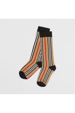 Burberry Socken & Strümpfe - Strümpfe aus einer Baumwollmischung im Intarsienstrick mit Streifenmuster, Size: 27-29