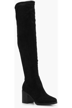 Boohoo Womens Overknee-Stiefel mit dickem Absatz - - 36