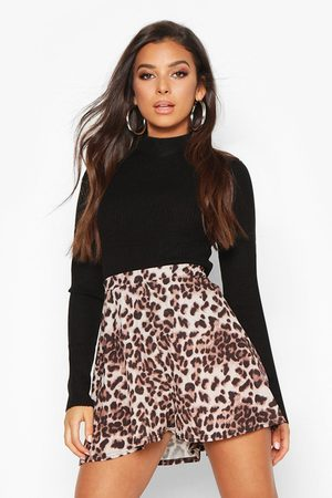 Boohoo Womens Leichte Shorts in Leopardenmuster - - 8