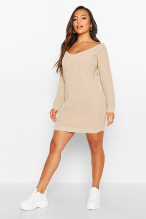 Boohoo Womens Petite Mini-Pulloverkleid mit V-Ausschnitt - - S