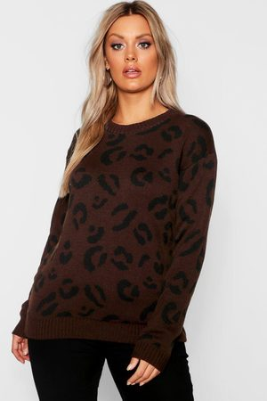 Boohoo Womens Plus Pullover Aus Strick In Leopardenmuster - - 42