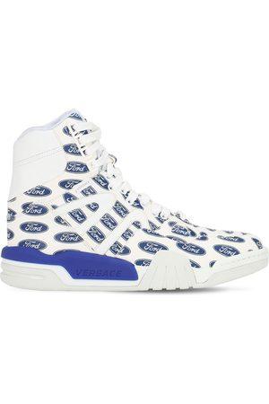 VERSACE Hohe Sneakers Aus Leder Mit Logodruck